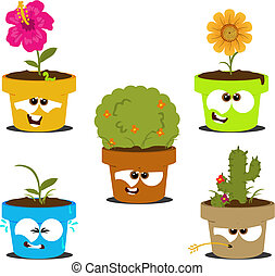 Funny cartoon pots with various plants