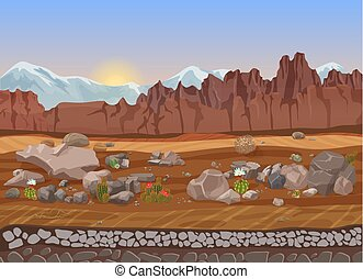 Cartoon prairie dry stone desert landscape with cactus, mountains, rocks and sand.