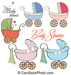cartoon prams collection on white background