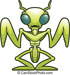 A cartoon illustration of a praying mantis standing.