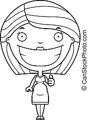 Cartoon Pregnant Woman Thumbs Up