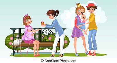 Cartoon pregnant woman with lesbian lover in park
