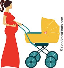 Pregnant woman with stroller baby