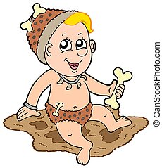 Cartoon prehistoric baby - isolated illustration.