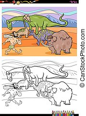 cartoon prehistoric characters coloring book