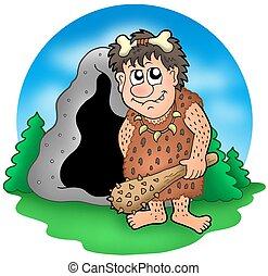Cartoon prehistoric man before cave - color illustration.