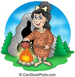 Cartoon prehistoric woman before cave - color illustration.