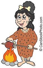 Cartoon prehistoric woman - isolated illustration.