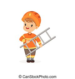Cartoon preschool boy standing isolated on white and holding ladder in hands. Flat vector kid character dressed as firefighter. Career day concept