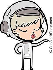 cartoon pretty astronaut girl
