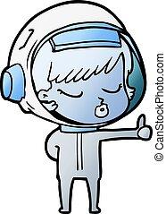 cartoon pretty astronaut girl giving thumbs up