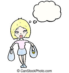cartoon pretty blond woman with shopping bags
