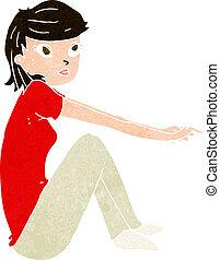 cartoon pretty girl sitting