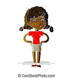 cartoon pretty girl with hands on hips
