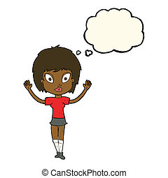 cartoon pretty girl with thought bubble