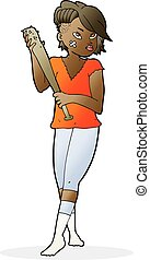 cartoon pretty punk girl with baseball bat