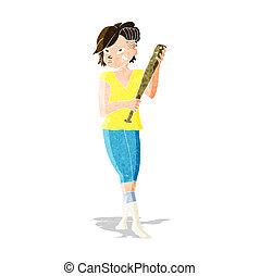 cartoon pretty punk girl with baseball bat