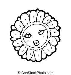 cartoon pretty sunflower face