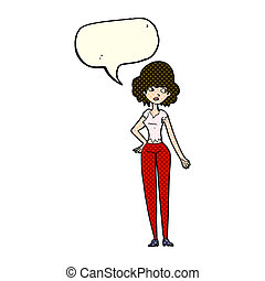 cartoon pretty woman with speech bubble