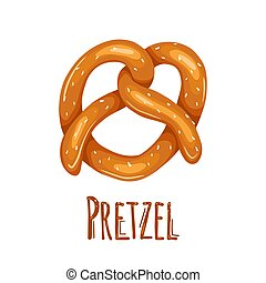 Cartoon pretzel with sprinkling and lettering. German appetizer. Treats for the holidays. Bakery product. Vector object