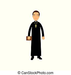 Cartoon priest character wearing traditional black cassock with cross around neck. Young catholic pastor holding Bible in hand. Religious person. Flat vector design