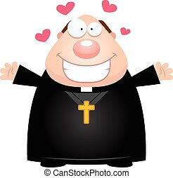 A cartoon illustration of a priest ready to give a hug.