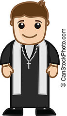 Cartoon Priest Man Vector
