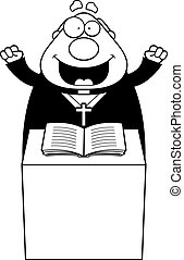 Cartoon Priest Sermon - A cartoon illustration of a priest...