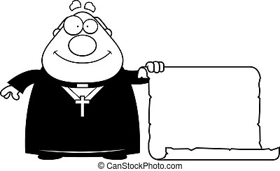 Cartoon Priest Sign - A cartoon illustration of a priest...