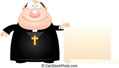 Cartoon Priest Sign - A cartoon illustration of a priest...