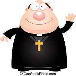 A cartoon illustration of a priest waving.