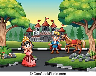 Cartoon prince and little princess on the road tro the castle