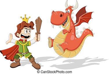Cartoon prince with dragon