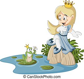 Cartoon princess and frog on a swamp