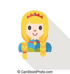 cartoon princess flat icon