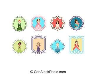 Cartoon princess set with frames