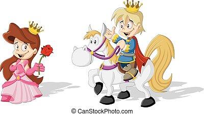 Cartoon princess with a prince