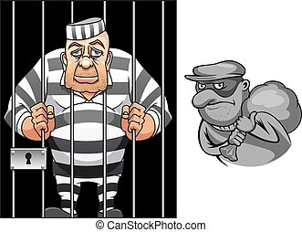 Cartoon prisoner in jail and robber in mask - Cartoon...
