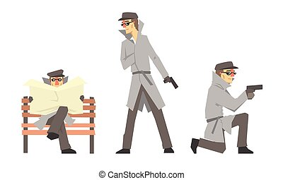 Cartoon Private Detective Character Doing Daily Work Vector Illustration Set Isolated On White Background
