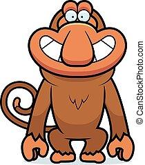 A cartoon illustration of a proboscis monkey grinning.