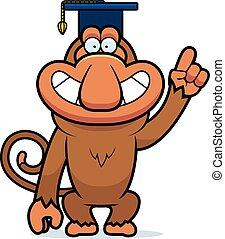 A cartoon illustration of a proboscis monkey in a professor cap.