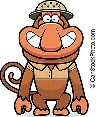 A cartoon illustration of a proboscis monkey in a safari outfit and pith.