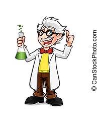 cartoon, professor, tommelfinger oppe