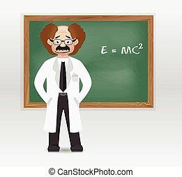 cartoon professor with chalkboard