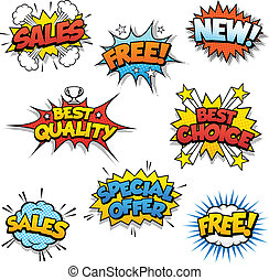 Cartoon Promotional Graphics - Set of Eight Cartoonish...