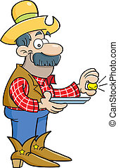 Cartoon prospector with a gold nugg