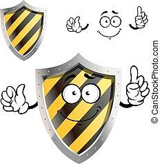 Cartoon protective or warning sign shield