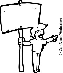 cartoon protester with sign