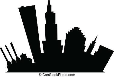 Cartoon Providence - Cartoon skyline silhouette of the city...
