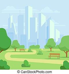 Cartoon public city park with skyscrapers cityscape vector illustration